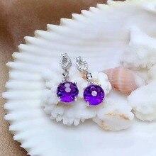 shilovem 925 sterling silver piezoelectric amethyst Stud Earrings fine Jewelry women trendy party classic new me0808966agz