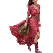 Лето шифон Boho платье Для женщин Повседневное Цветочный Sexy v-образным вырезом Макси пляжное платье Vestidos с рукавом три четверти Разделение Макси платье **