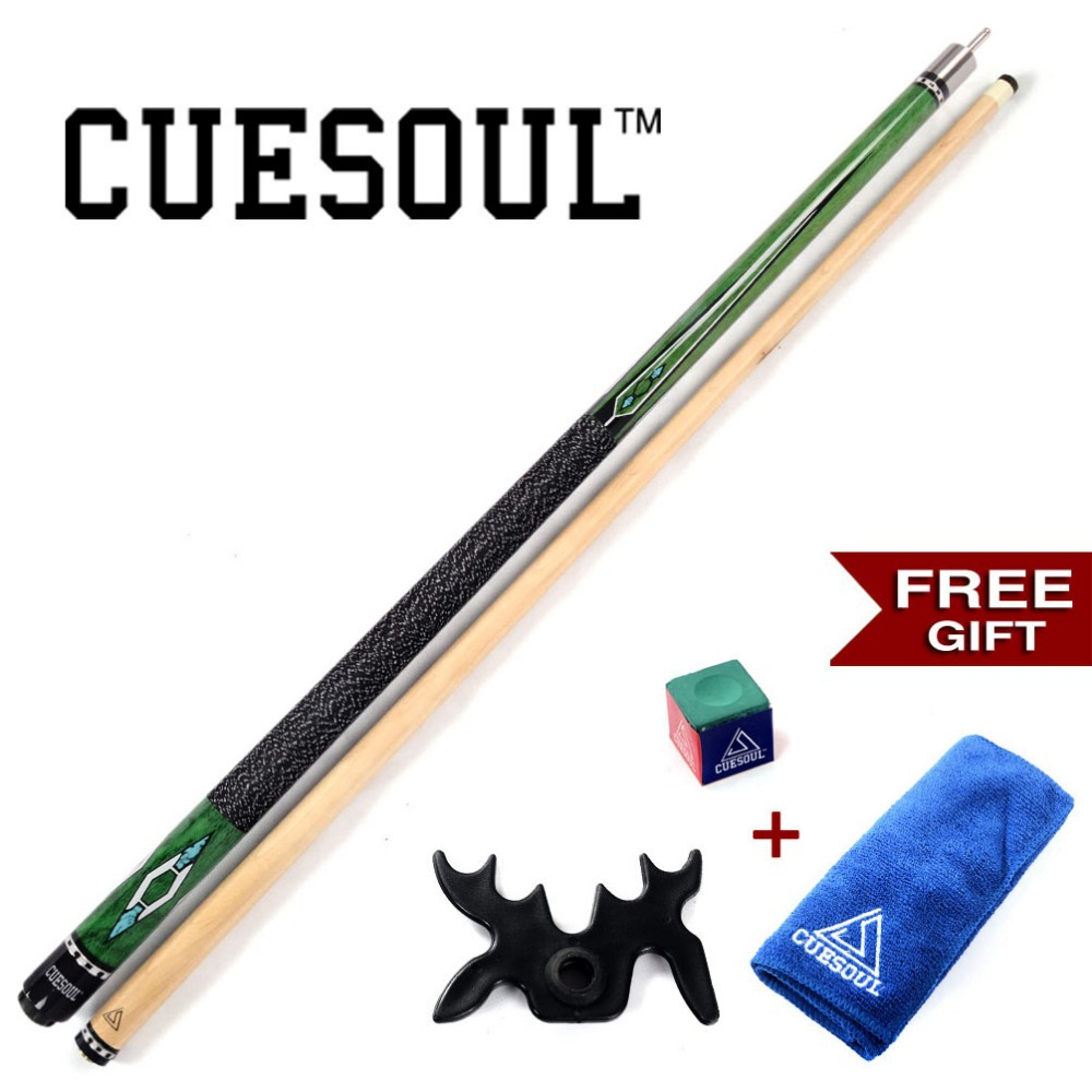 CUESOUL Pool Cue Stick With Free Cue Clean Towel+Billiard Chalk+Bridge Head with 13mm Cue Tip CSPC016G