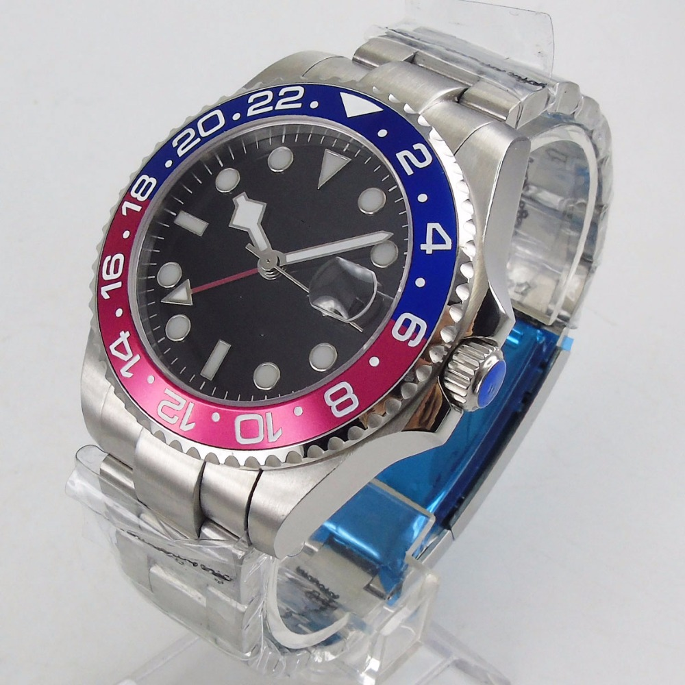 Sapphire Glass BLIGER 40mm Automatic Men s Watch Blue Red Ceramic Bezel Red GMT Pointer Luminous