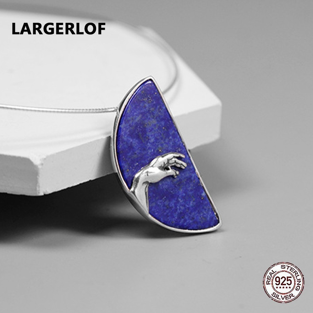 LARGERLOF 925 Sterling Silver Pendant Female Fine Jewelry Handmade Natural Lapis Pendant Silver 925 PD491126 925 sterling silver pendant thai silver natural green agate pendant locket female ruby pendant