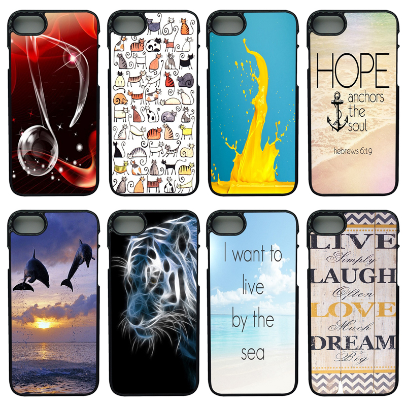 Quotes Live Watercolor Pattern Print Anti-knock Black Phone Case Smooth PC Plastic Hard Case for iphone 8 7 6 6S PLUS X 5S 5 SE