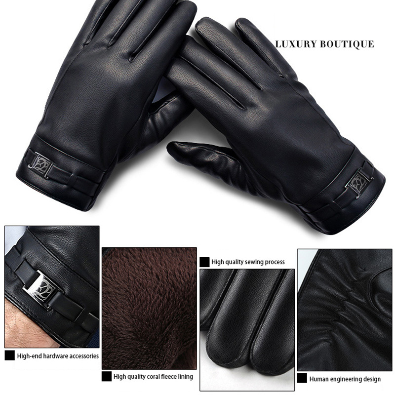 Warm Winter Mens Gloves Faux Suede Leather Male Bussiness Drive Glove 2019 New