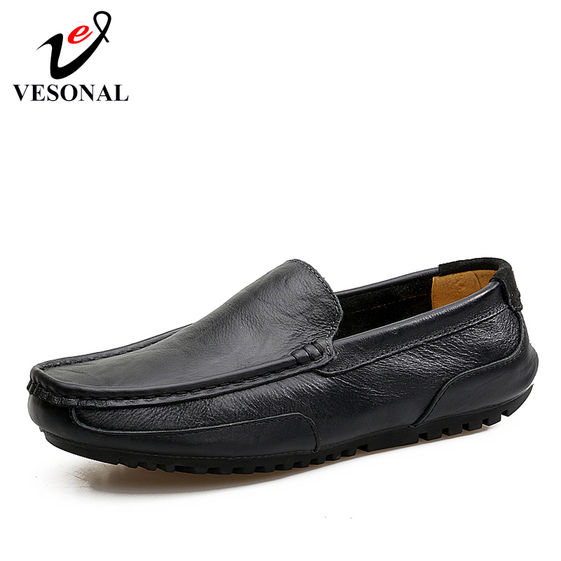 VESONAL Men Shoes Moccasins Driver Loafers-Hole Boat Breathable Genuine-Leather Casual