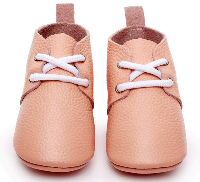 2017 New style Genuine Leather Baby Moccasins Shoes Gold Baby oxford shoes lace up Newborn first walker Infant baby Shoes