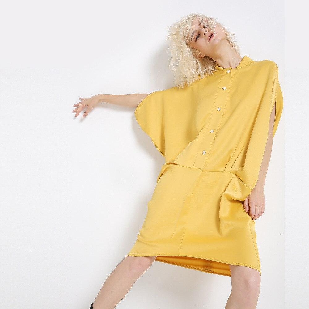2019S/S High Quality Satin Material Loose Yellow Dress Batwing Sleeve Hip Dress 2019 Summer New Fashion Women Dress