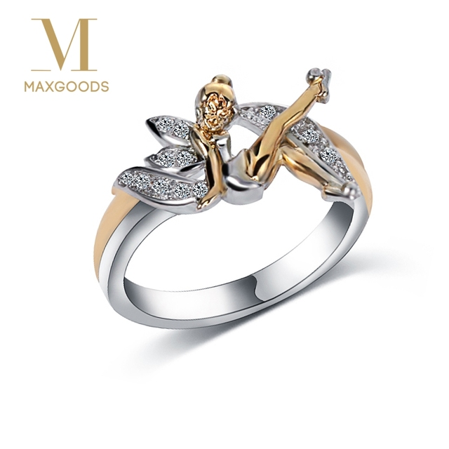 1 Pcs Fantasy Two Toned Wedding Ring Silver Cute Angel Flower Fairy
