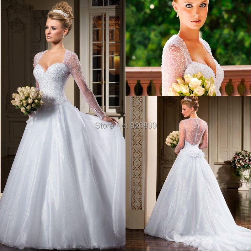 Beaded Wedding Dress With Detachable Train: New Gorgeous Ball Gown Full Beaded Top Long Sleeve Wedding