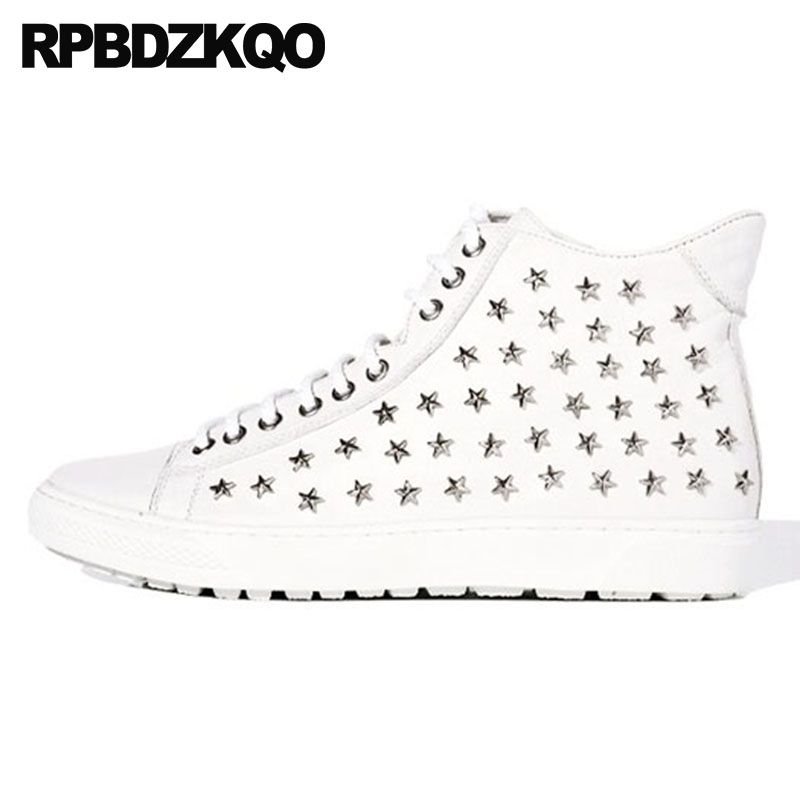 Metalic High Sole Ankle Boots Stud Sneakers White Male Top Men Lace Up Booties Trainer Shoes Sheepskin Thick Soled Platform Flat stud high top flat booties metalic sneakers rock ankle shoes winter men boots with fur brown rivet punk black zipper trainer