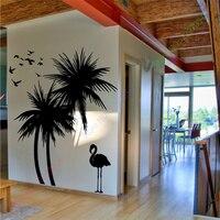 Venta caliente grandes árboles de palma bird adhesivo vinly tatuajes de pared arte mural etiqueta de la pared decoración para el hogar
