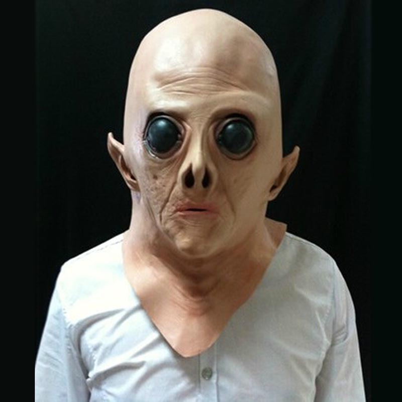 Alien UFO Scary Full Face Mask Super Terrestrial Party ET Horror Rubber Latex Full Masks For Halloween Party Toy Prop muñeco buffon