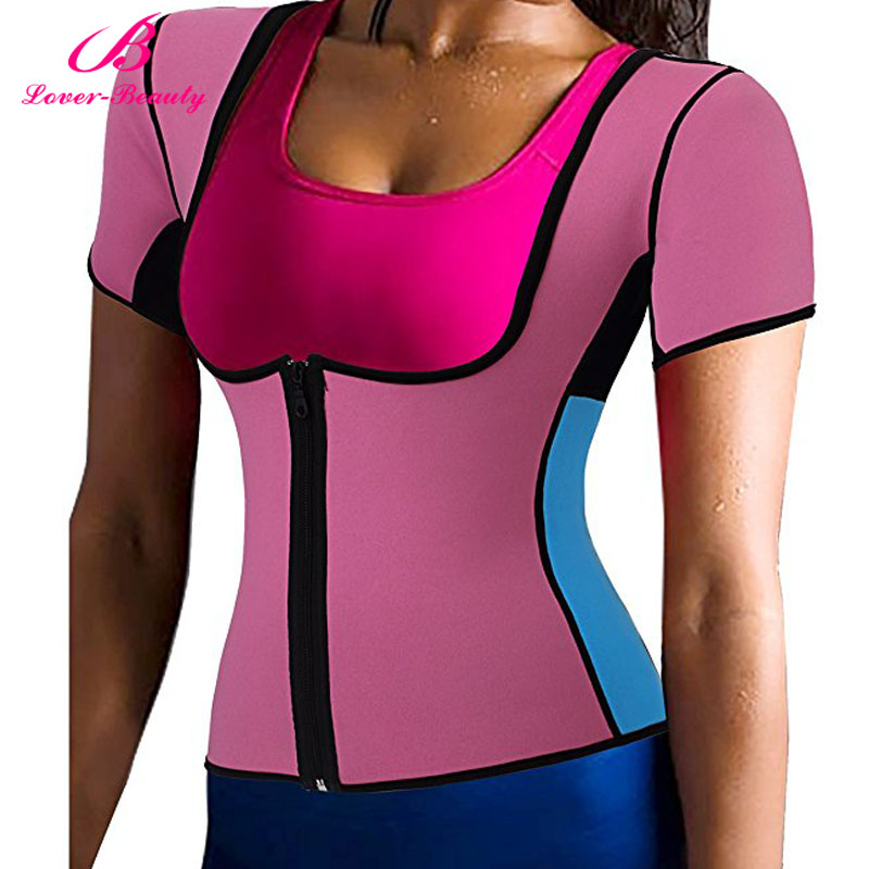 638b0d29e2 Lover Beauty Zipper Hot Sweat Waist Trainer Neoprene Body Shapers For Fat  Burner Sauna Vest With Sleeves Fajas Reductoras A-in Tops from Underwear ...