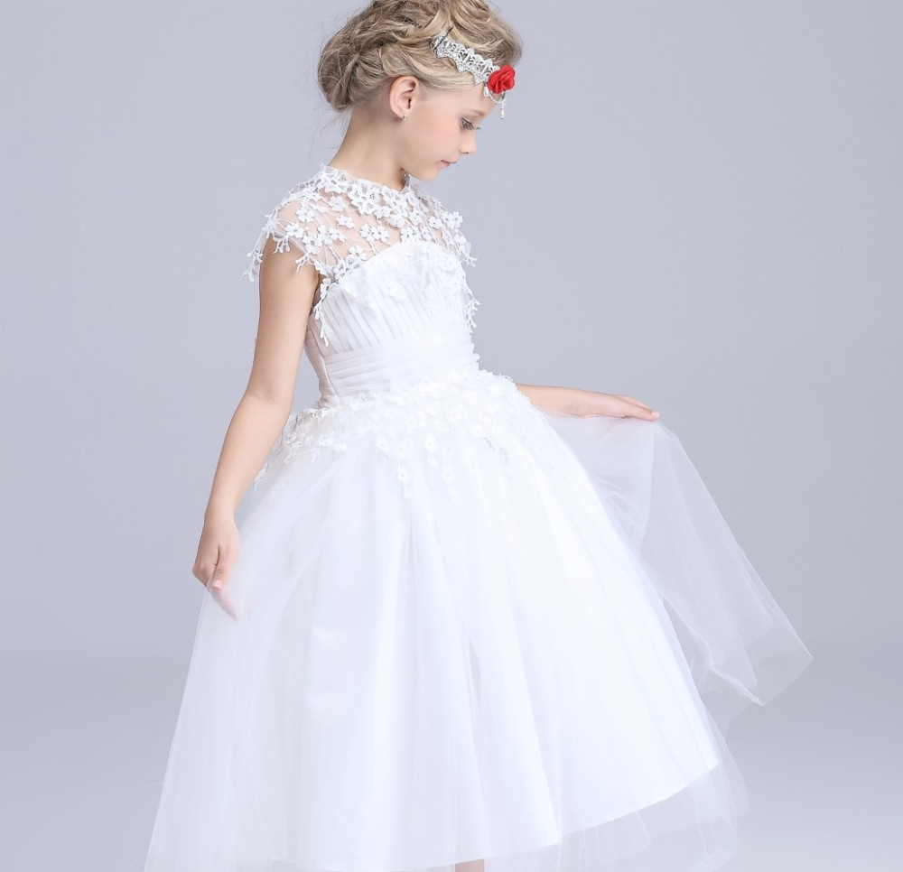 Children Gowns For Wedding: 2017 New Elegant Long Wedding Dress For Girls White Flower