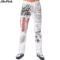 2017 New Flag USA Men Printed Jeans Fashion Casual Designer Brand Slim Pencil Jeans