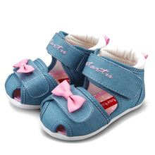 Crtartu Summer Style 1 Pair Light Blue Canvas Paste Cartoon Bowknot Baby Step Shoes Baby Shoes