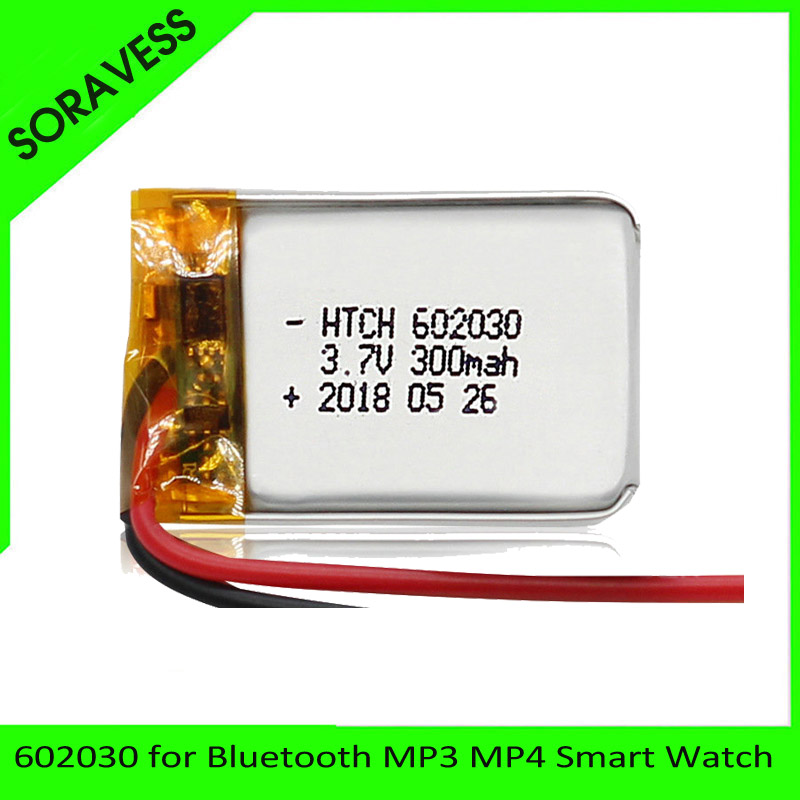 300mAh <font><b>602030</b></font> 3.7V lithium polymer battery, Bluetooth MP3 MP4 Smart Watch wireless card audio recorder Rechargeable Li-ion Cell image