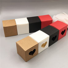 5*5*5cm Paper Cardboard Gifts Box With Heart Window For Festival Dessert Cake Candy Chocolate Gift DIY Storage Packing Boxes(China)