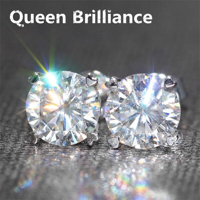 Genuine14k 585 oro blanco tornillo de vuelta 2 quilates F color Lab test positivo grown moissanite diamante Pendientes para las mujeres