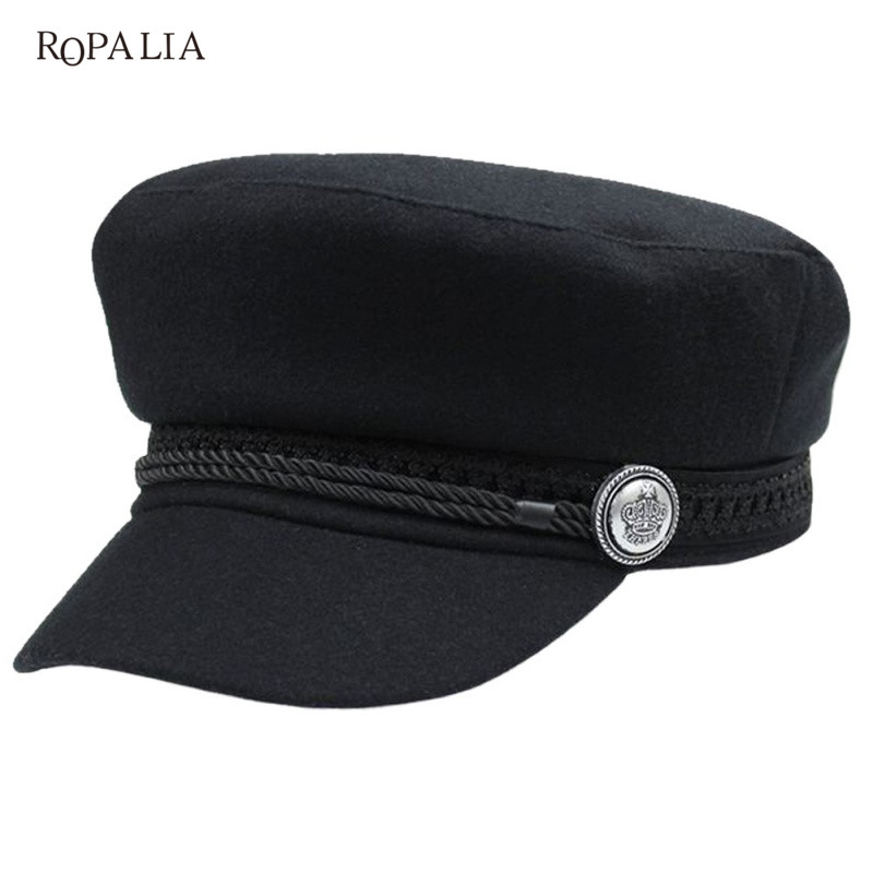 ROPALIA Bassball Hat Winter Knitted   Cap   Flat Top Hats For Women Black Grey Male Female Casquette Militaire Gorra Plana