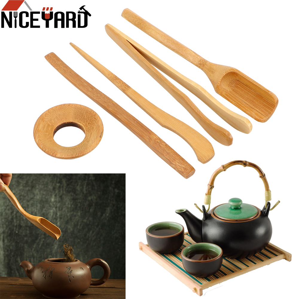 NICEYARD 5 Pieces/set Bamboo Teaspoons Needle Tweezer Clip Strainer Tong Tube Set Tea Ceremony Utensils Set Wooden Teaware