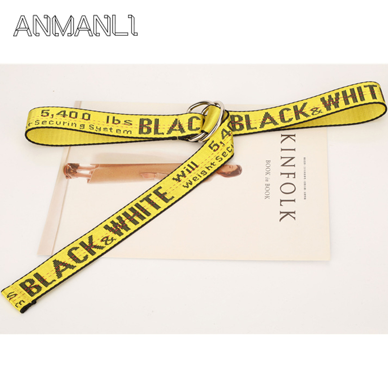 Fashion New Harajuku Unisex Canvas   Belt   Printing Letter D Ring Double Buckle High Quality Casual all-match Jeans   Belt   RE23