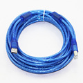 10m 33ft  USB 2.0 Printer Cable Type A Male to Type B Male Dual EMIFIL Dual Shielding(Foil+Braided) Premium Transparent Blue