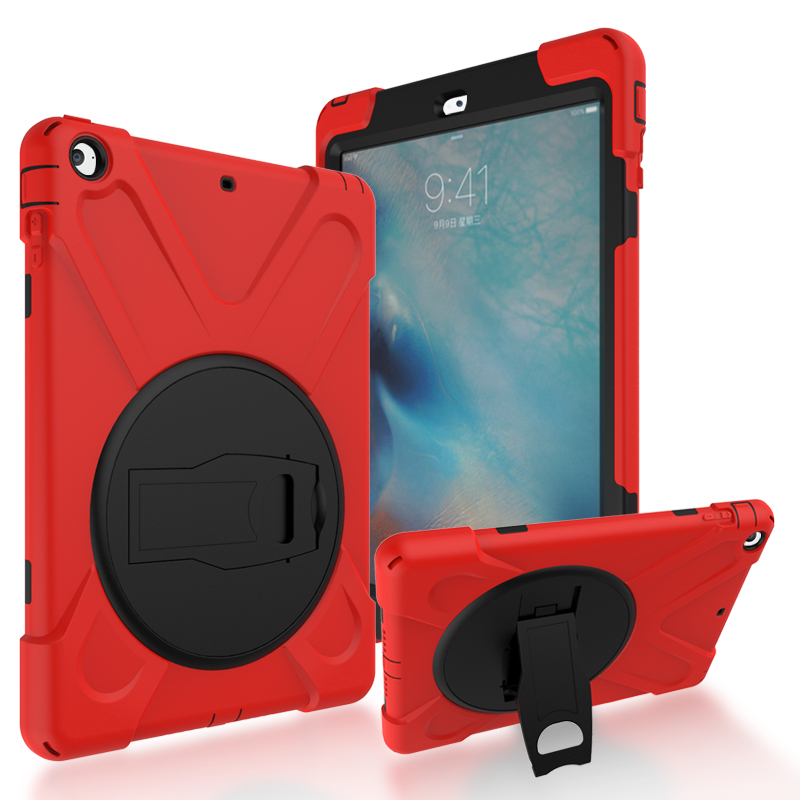 GOOYIYO - For iPad Air iPad 5 Silicone Case PC Kickstand Cover Armor Shockproof Shell Heavy Duty Tablet Case