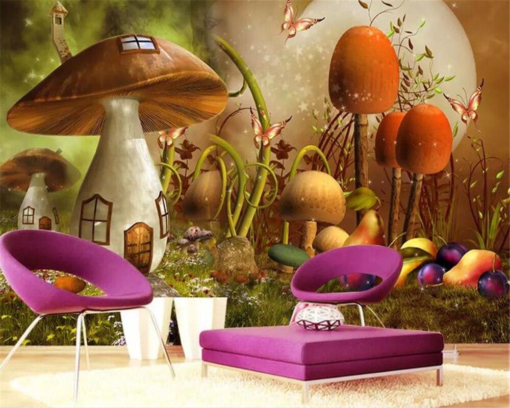 Beibehang Custom Children Room Wall 3d Wallpaper Fairytale world mushroom house children 39 s room TV Background Wall 3d wallpaper in Wallpapers from Home Improvement