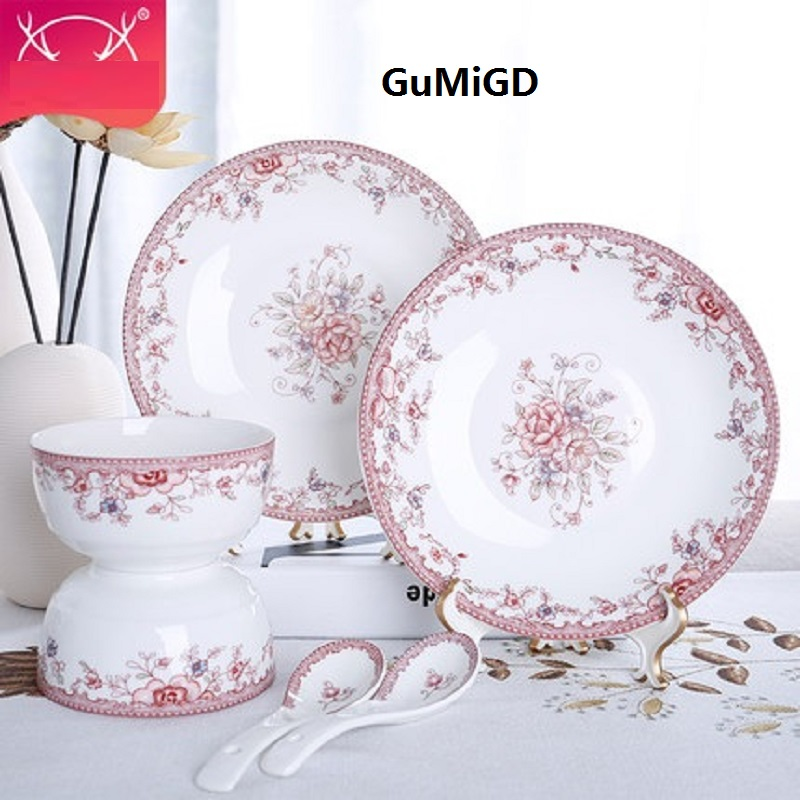 christmas guci 6 pieces New bone china tableware Chinese simple household kitchen dishes ceramic bowls  Korean bowl gift serveware