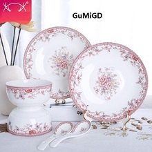 christmas guci 6 pieces New bone china tableware Chinese simple household kitchen dishes ceramic bowls  Korean bowl gift