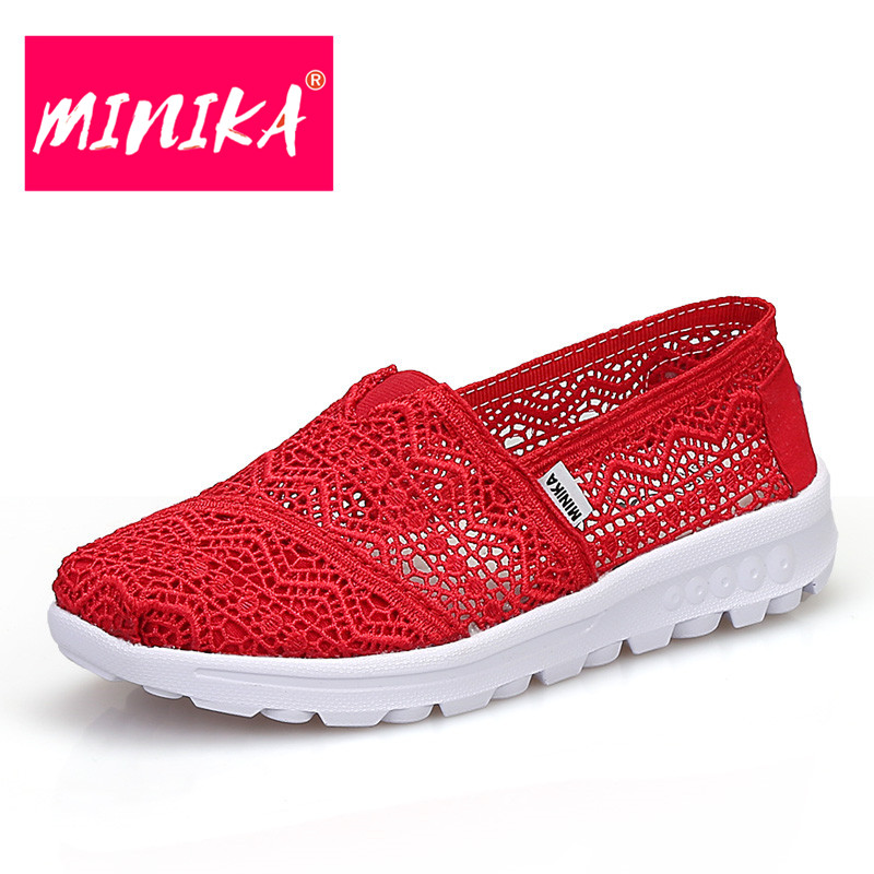 MINIKA Fashion Air Mesh Shoes Women Breathable & Soft Women Casual Shoes Surface Muffin Female 2017 Casual Healthable Flat Shoes mwy women breathable casual shoes new women s soft soles flat shoes fashion air mesh summer shoes female tenis feminino sneakers