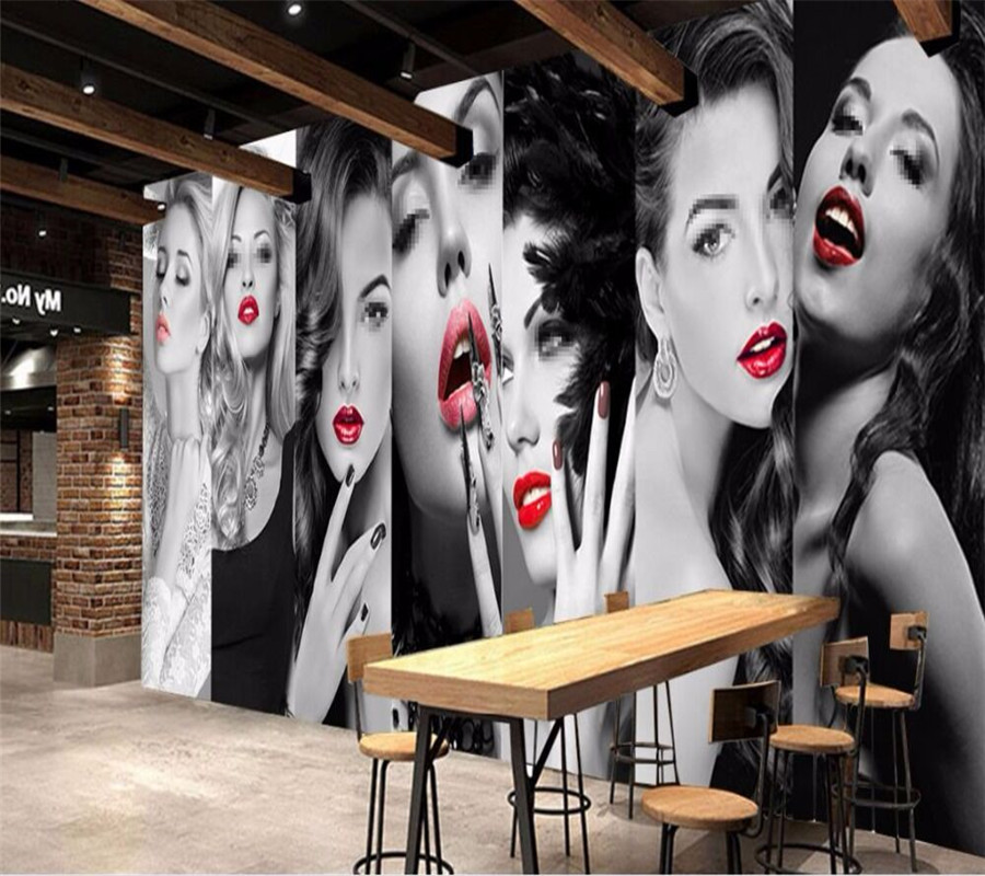 Creative personality clothing beauty salon background wall professional production mural wholesale wallpaper custom photo wall in Fabric Textile Wallcoverings from Home Improvement