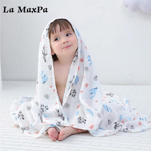 Multifunction Cartoon Print Muslin Baby Blanket Baby Towel Bath Blankets Bedding Infant Swaddle Towel Baby Stroller Blanket