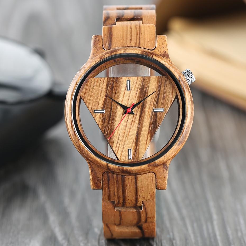 Unique Inverted Geometric Triangle Zebra Wood Watch Men Women Creative Hollow Dial Full Wooden Quartz Wristwatch Reloj de madera 2017 2018 Christmas Gifts Best Gifts (7)