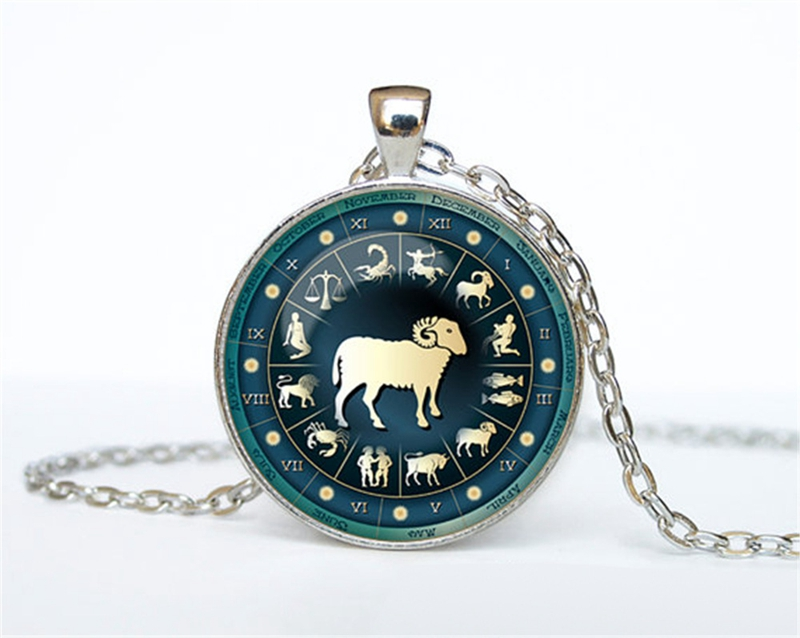US $8 76 14% OFF|Vintage 12 Constellation Symbol Round Time Gem Pendant  Necklace Aries Taurus Aquarius Horoscope zodiac Gift For Friends 12PCS-in