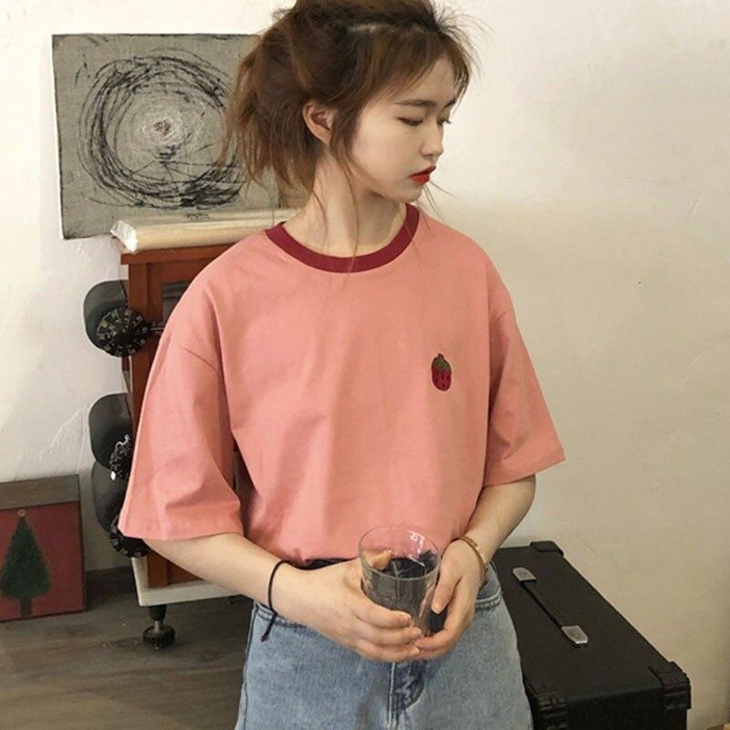 Womens Round Neck Cartoon Strawberry Tshirt Camisetas Verano Mujer 2019 Print Short Sleeve T-Shirt Women
