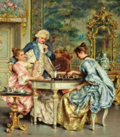 European Fashion Men And Women Play Chess 5d Diy Diamond Painting Home Decor Resin For Round