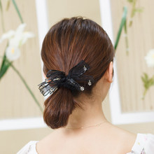 CHIMERA Black Bowknot Scrunchies Crystal Ponytail Holder Fashion Elastic  Chiffon Hair Bands Ropes Hair Ties for Girls Women 41a3db056805