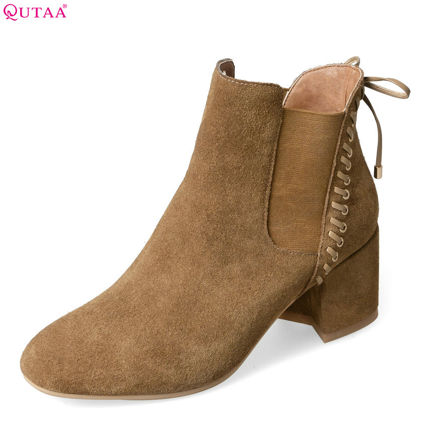 QUTAA 2018 New Fashio Women Ankle Boots Square High Heel Round Toe Women Shoes High Quality Zipper Women Boots Size  34-39 qutaa 2018 women ankle boots cow suedezipper fashion pointed toe all match square high heel high quality women boots size 34 39
