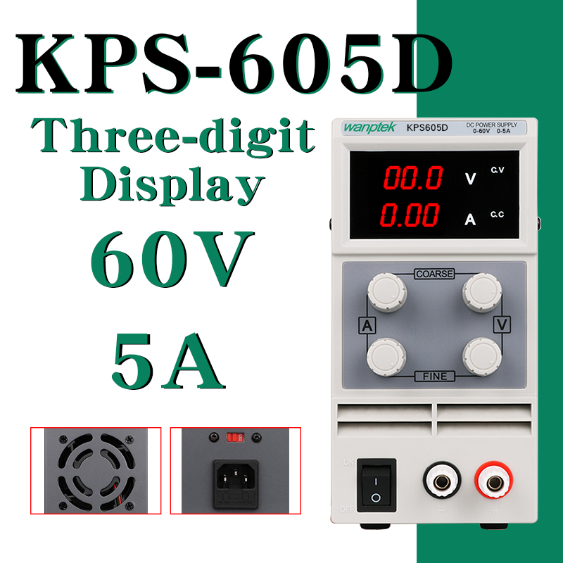 DC Power Supply KPS605D Variable 60V 5A Adjustable Switching Regulated Power Supply Digital with Alligator Leads
