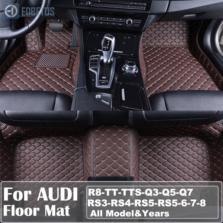 Заказ автомобиля кожаный коврики для Audi все модели a3 Quattro A5 A6 A7 A8 Q3 Q5 Q7 RS4 RS5 RS6 S6 S7 Водонепроницаемый провод коврик
