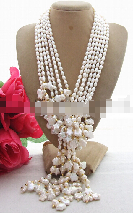 купить FREE SHIPPING>>>@@ > N2367 Excellent 3Strds 50 White Pearl Necklace онлайн