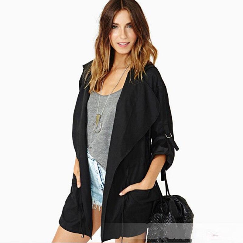 Autumn Women's Casual Hooded Windbreaker Coat Turndown Collar Overcoat Outerwear Coat Solid Color Trench Belt Slim Tops Coat 1