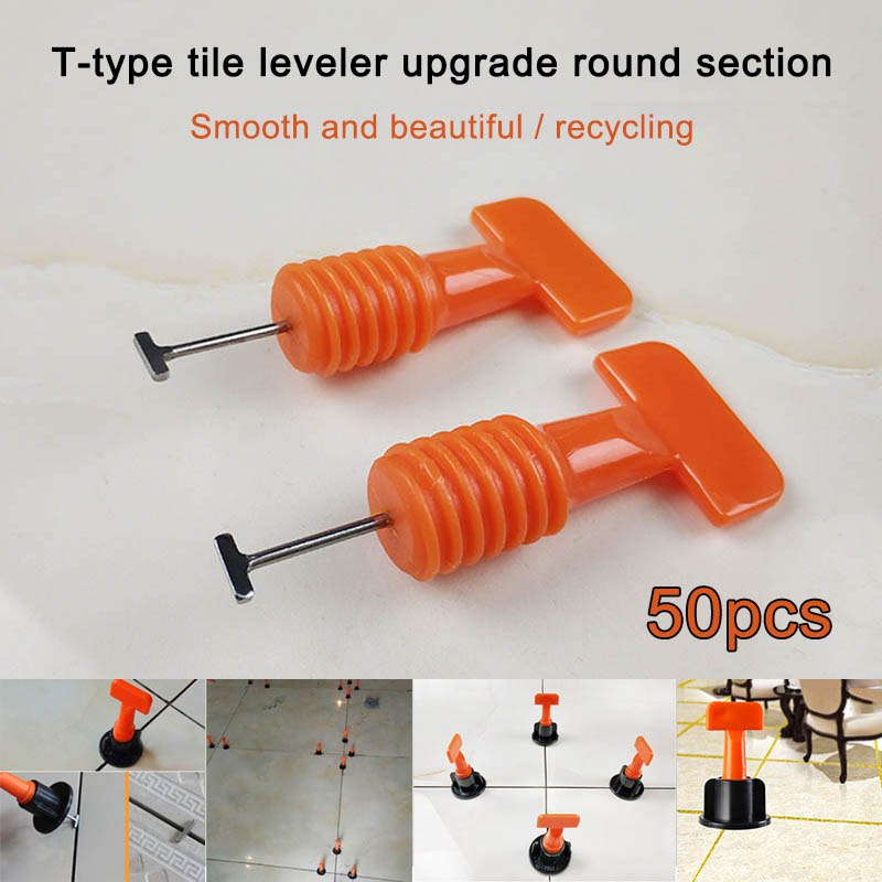 50 Pcs Flat Ceramic Floor Wall Construction Tools Reusable Tile Leveling System Kit HYD88