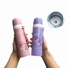 Hot sale Bpa-free 500ml unicorn bullet Insulated thermos bottles with rope Portable office Outdoor sport camp tea vacuum flasks