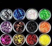 12 pots in 1 NAIL ART 1mm Hexagonal Acrylic Nail Art Glitter powder set for Crafts & Nails DIY Decoration цена