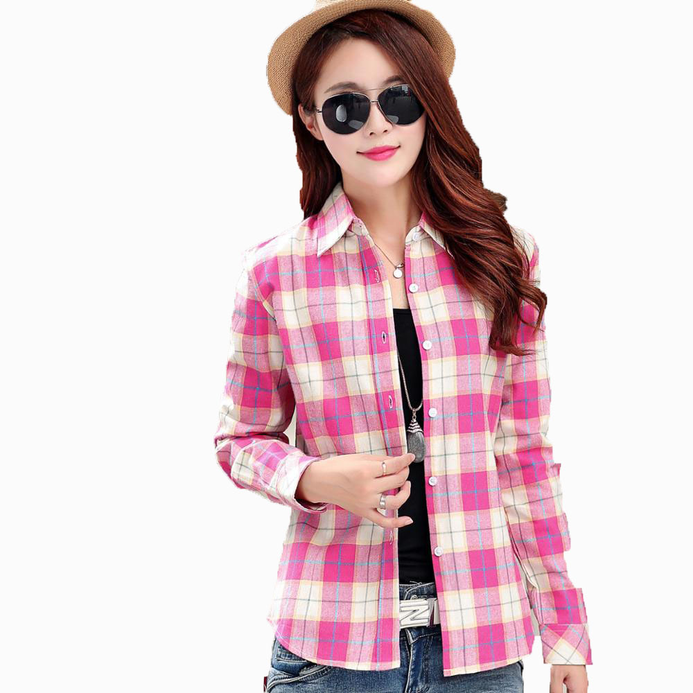 2017 Promotion Spring New Brand Women Blouses Sleeve Cotton Flannel Plaid Shirts Casual Size Shirt Blusas Feminina 20color
