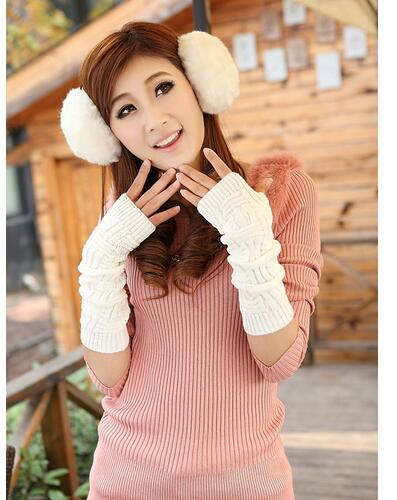 1pair/lot free shipping korean style woman long knitted gloves lady solid female winter elbow mintten candy colors
