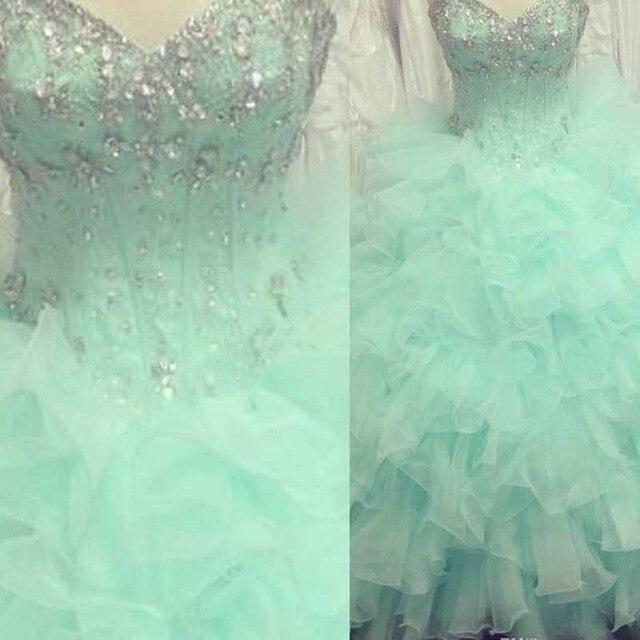 819714157 Vestidos de 15 años verde menta quinceañera vestidos 2015 granos del  Rhinestone brillantes Ruffles Quinceanera vestidos