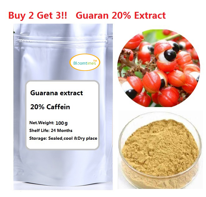 Buy 2 get 3 !!Free shipping 100g/lot 100% Natural Guarana extract 20% Caffeine powder gmp manufacture natural cucumber extract powder 1kg bag free shipping